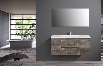 ALMA-PRE 48″ WALNUT GREY WALL MOUNT VANITY WITH WHITE SINK