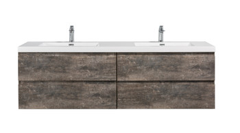 ALMA-PRE 72″ WALNUT GREY WALL MOUNT VANITY WITH WHITE SINK