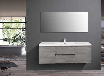 ALMA-PRE 60″ CEMENT GREY SINGLE SINK VANITY WITH WHITE SINK