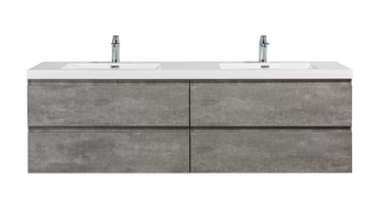 ALMA-PRE 84″ CEMENT GREY WALL MOUNT VANITY WITH WHITE SINK