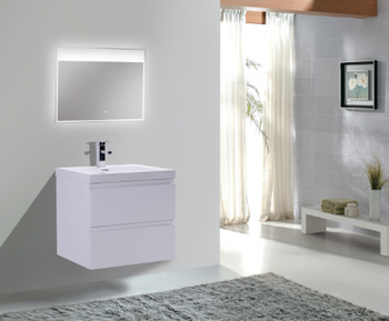 ALMA-PRE 24″ GLOSS WHITE WALL MOUNT VANITY WITH INTEGRATED SINK