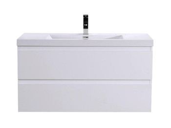 ALMA-PRE 42″ GLOSS WHITE WALL MOUNT VANITY WITH WHITE SINK