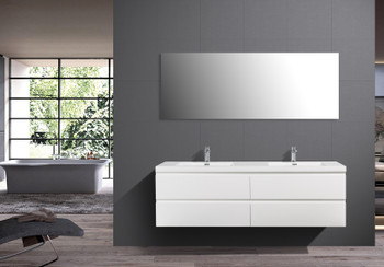 ALMA-PRE 84″ GLOSS WHITE WALL MOUNT VANITY WITH WHITE SINK