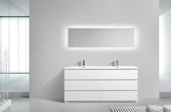 ALMA-EDISON 72″ GLOSS WHITE DOUBLE SINK VANITY