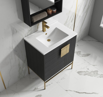 "Alma Bulanka 32"" Bathroom Vanity Dawn grey , Golden Brass Hardware"