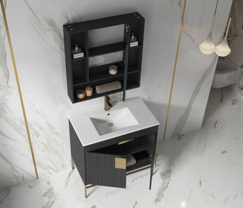 "Alma Bulanka 36"" Bathroom Vanity Dawn grey , Golden Brass Hardware"