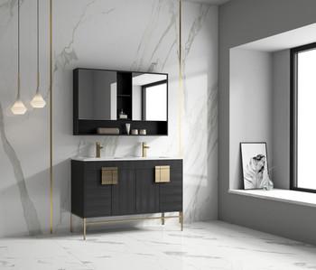 """Alma Bulanka 48"""" Double Sink Vanity Dawn grey , Golden Brass Hardware"""