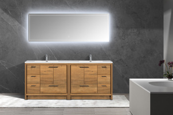 "ALMA-ALLIER 84"" NATURAL OAK FINISH VANITY WITH INTEGRATED COUNTERTOP WITH SINK"