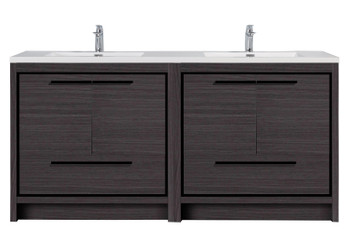Alma Allier 72 inch Dark Grey Oak Vanity With White Sink