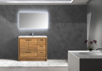 """Alma Allier 42"""" Natural Wood Finish With Integrated Sink / Right Side  Drawers"""