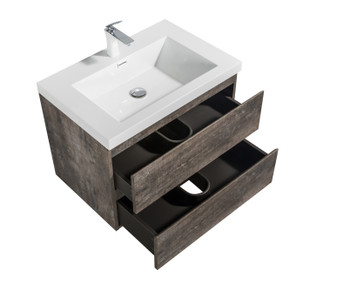ALMA-PRE 24″ WALNUT FINISH WALL MOUNT VANITY WITH WHITE SINK