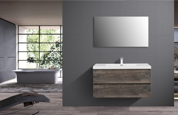ALMA-PRE 42″ WALNUT GREY WALL MOUNT VANITY WITH WHITE SINK