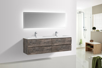 ALMA-PRE 84″ WALNUT GREY WALL MOUNT VANITY WITH WHITE SINK