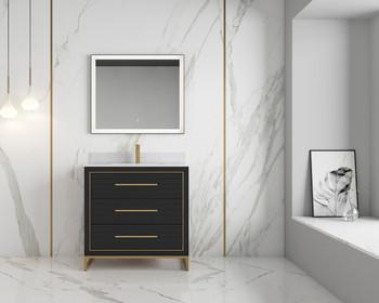 "Alma Barsalona 36"" Bathroom Vanity Dawn grey , Golden Brass Hardware"