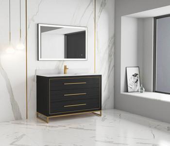 "Alma Barsalona 48"" Bathroom Vanity Dawn grey , Golden Brass Hardware"