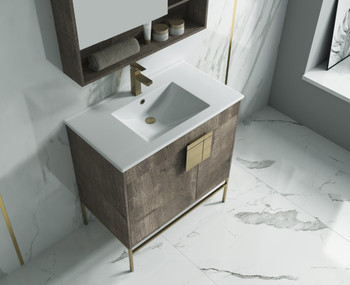 "Alma Bulanka 32"" Bathroom Vanity Plaid Grey Oak Finish , Golden Brass Hardware"