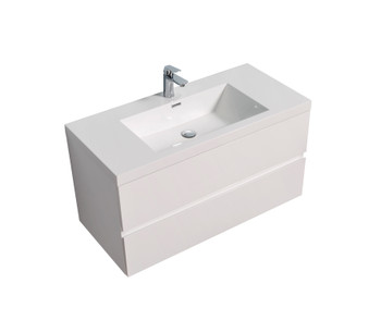 ALma-Angela 42″ Gloss White Wall Mount Vanity With Sink