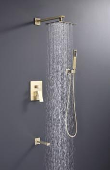"Alam Empolo 8"" Wall mount Rain Shower Set - Gold Brass Finish"