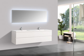 Alma-Angela 72″ Gloss White Wall Mount Vanity With White Sink