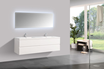 Alma-Angela 84″ Gloss White Wall Mount Vanity With White Sink
