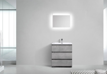 """Alma-Edison 30"""" Cement Grey  Vanity  With Integrated White Sink"""