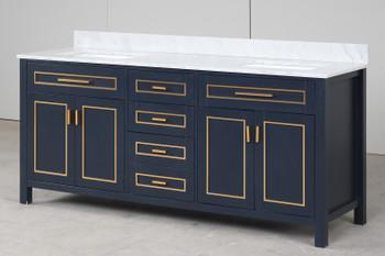 "Alma Viviana 72"" Solid Wood Double sink Vanity Navy Blue Finish , Golden Brass Hardware"