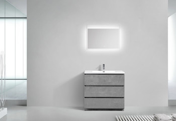 """Alma-Edison 36"""" Cement Grey  Vanity  With Integrated White Sink"""