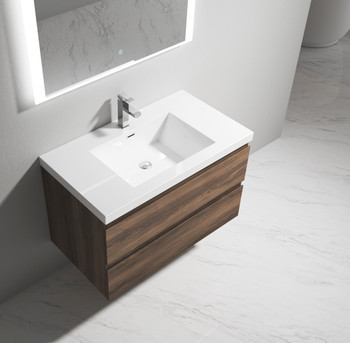 """Alma-Pre 36"""" Ebony Brown Wall Mounted Vanity With Integrated Sink"""