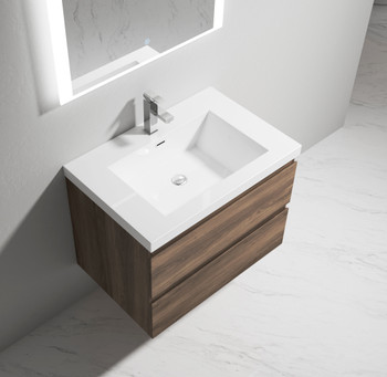 """Alma-Pre 30"""" Ebony Brown Wall Mounted Vanity With Integrated Sink"""