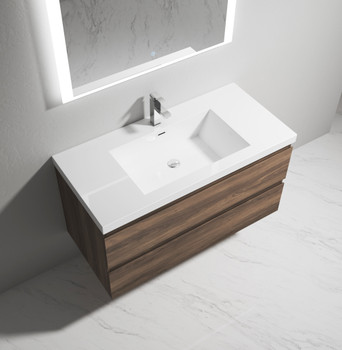 """Alma-Pre  42"""" Ebony Brown Wall Mounted Vanity With Integrated Sink"""