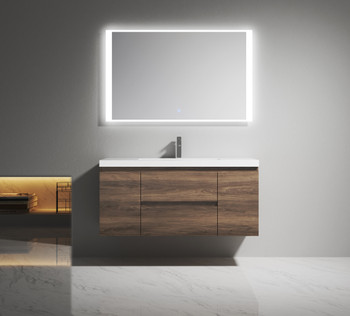 """Alma-Pre 48"""" Ebony Brown Wall Mounted Vanity With Integrated Sink"""