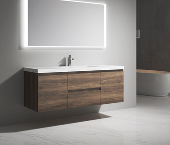 """Alma-Pre 60"""" Ebony Brown Single Sink  Wall Mounted Vanity With Integrated Sink"""