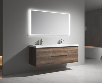 """Alma-Pre 60"""" Ebony Brown  Double Sink Wall Mounted Vanity With Integrated Sink"""