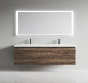 Alma-Pre 72″ Ebony Brown Wall Mount Vanity With Integrated Sink
