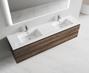 Alma-Pre  84″ Ebony Brown Wall Mount Vanity With Integrated Sink