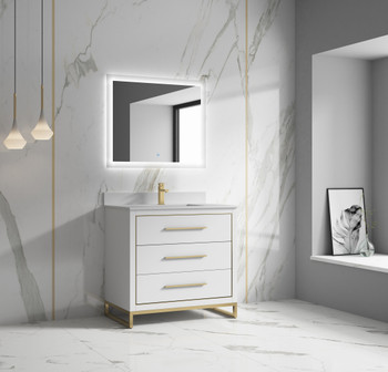 """Alma Kathyia 36"""" Free Standing Vanity ,White Stone Top With Porcelain sink ,Golden Brass Hardware"""