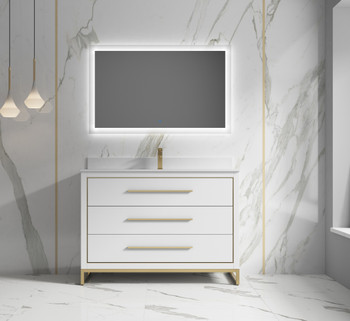"""Alma Kathyia 48"""" Free Standing Vanity ,White Stone Top With Porcelain sink ,Golden Brass Hardware"""