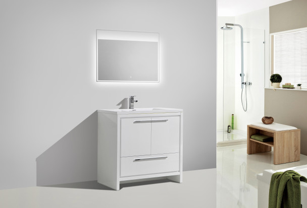 """ALMA-ALLIER 36"""" HIGH GLOSS WHITE MODERN VANITY WITH INTEGRATED COUNTERTOP WITH SINK"""