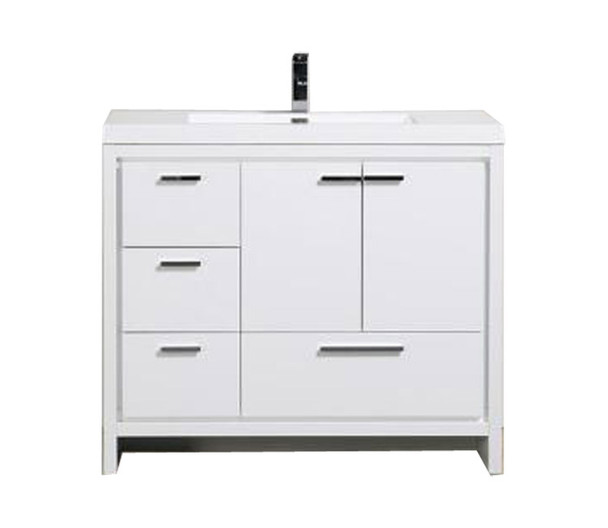 """ALMA-ALLIER 42"""" HIGH GLOSS WHITE VANITY WITH INTEGRATED SINK / LEFT SIDE DRAWERS"""