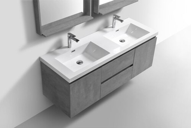 ALMA-PRE 60″ CEMENT GREY DOUBLE SINK VANITY WITH WHITE SINK