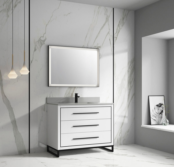 "Alma Kathyia 48"" Free Standing Vanity ,Gray Stone top with porcelain sink ,Matt black Hardware"
