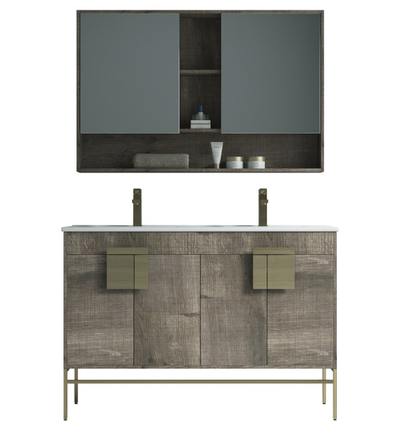 "Alma Bulanka 48"" Double Sink Vanity Plaid Grey Oak Finish , Golden Brass Hardware"