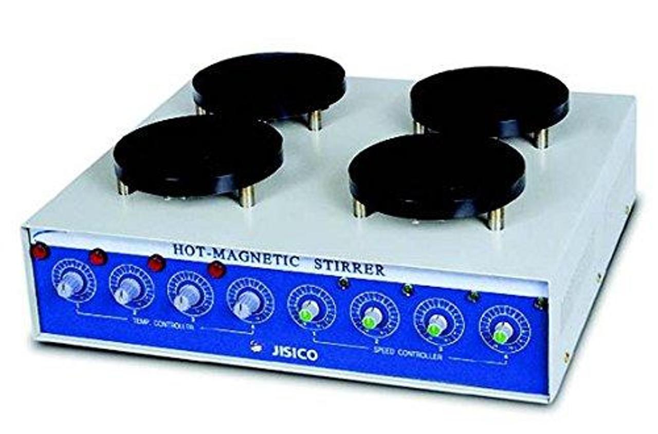 JISICO Multi Hot Plate Magnetic Stirrer. Capacity 500ml (flask) x 4ea, 220-110 Volt 60 Hz (using transformer included)