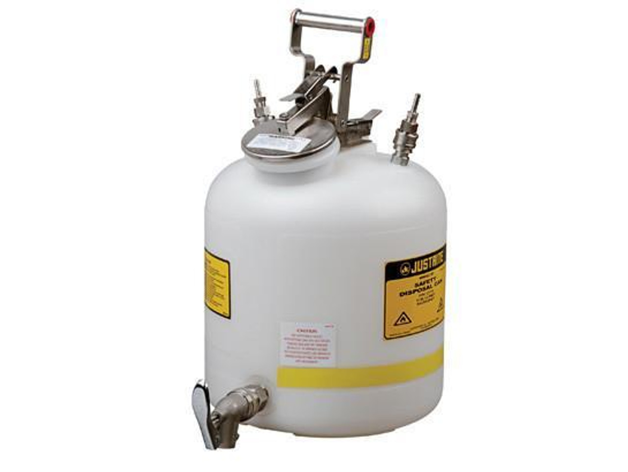 """Disposal Can with faucet, Quick-Disconnect, S/S fittings for 1/4"""" tubing, 5 gallon, poly"""