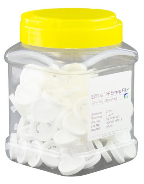 EZFlow 25 mm Syringe Filter, .2 um PES,Glass Fiber Prefilter, 100/pack