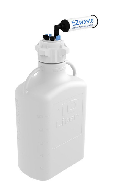 """EZwaste® Safety Vent Carboy 10L HDPE with VersaCap® 83mm, 4 ports for 1/8"""" OD Tubing, 3 ports for 1/4"""" OD Tubing"""