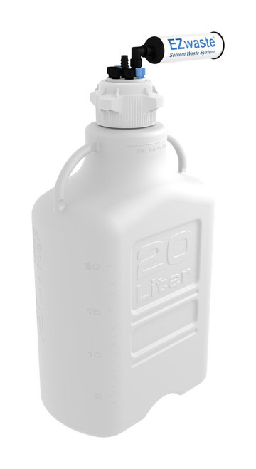"""EZwaste® Safety Vent Carboy 20L HDPE with VersaCap® 83mm, 4 ports for 1/8"""" OD Tubing, 3 ports for 1/4"""" OD Tubing, 1 port for 1/4"""" HB or 3/8"""" HB"""