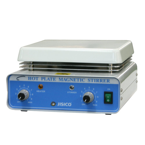 JISICO Hot-Plate Magnetic Stirrer. Plate size (W×D) 180×180 mm (ceramic coated) Overall size (W×D×H) 200×310×115mm. Net weight 3.5Kg.Volt: 110 Volt - 60Hz