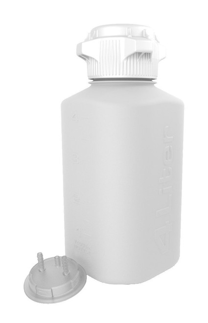 """4L HDPE Heavy Duty Vacuum Bottle, with 1/4"""" Hose Barb Adapter"""