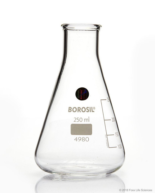 Borosil Erlenmeyer Conical Flasks Narrow Mouth I/C Stopper 250mL